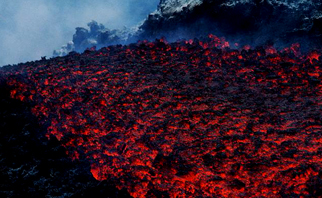 river of lava at Mount Etna