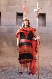 An actor portays the emperor-warrior Pachacuti, a still from
