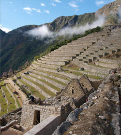 Terraces fortified by granite on the mountainside at Machu Picchu