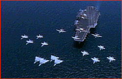 Air wing flying in diamond formation