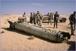 UNSCOM inspectors at downed Scud missle