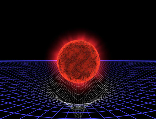 Red supergiant in spacetime fabric