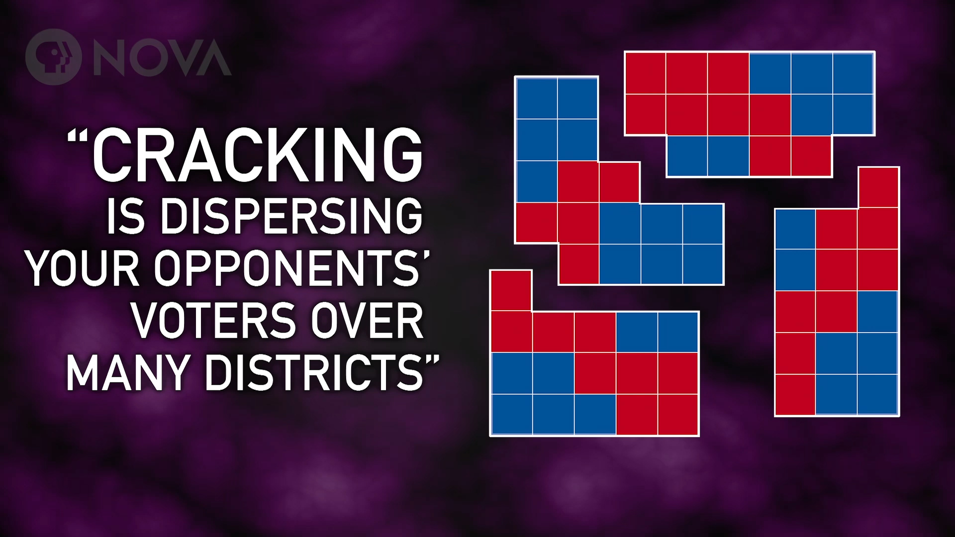 Gerrymandering - cracking is dispersing your opponents' voters over many districts.