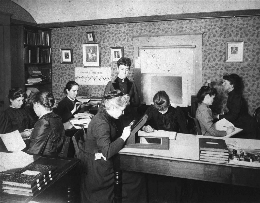 Henrietta Swan Leavitt and the Harvard Computers analyzing data at Harvard Observatory