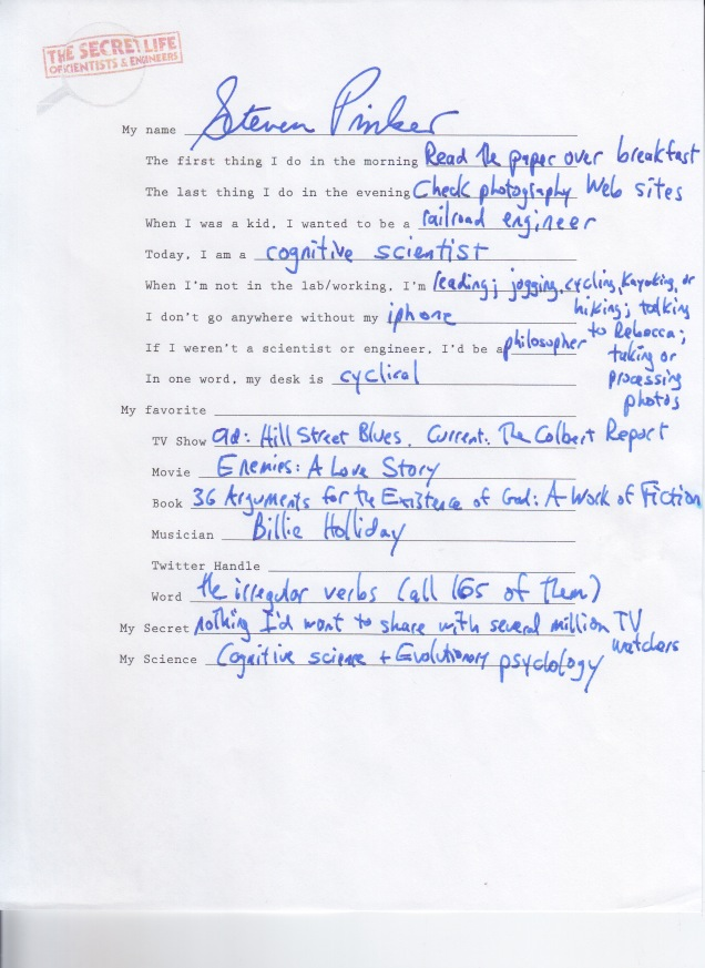 Steven Pinker Questionnaire