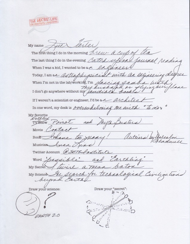 The Secret Life Questionnaire© with Astrophysicist Jill Tarter
