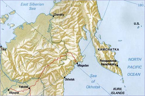 The Kamchatka Peninsula lies in easternmost Russia.
