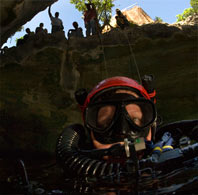 cave diver in a blue hole