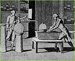 Lavoisier at work in his laboratory (etching)