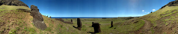 Panoramic photo of Moai