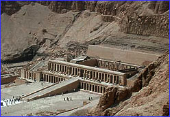 down into Hatshepsut's temple