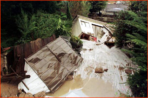 Flood damage in California