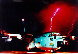 Composite photo of P-3 on runway and lightning strike
