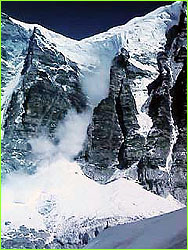 Avalanche above base camp