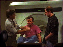 Ed Viesturs preparing to have MRI scans done