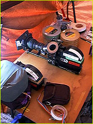 Camera gear getting packed for summit attempt