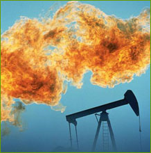 Oil well and flame