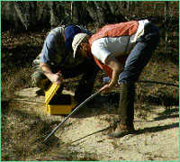 Two men operating the burrowcam into a tortoise burrow