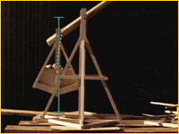 Straight line demonstrated on trebuchet model