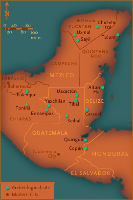 Mayan Cities Map NOVA | Cracking the Maya Code | Map of the Maya World (non Flash