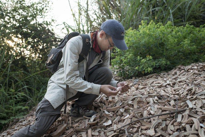 10 Examining qingbai sherds at the Shimuling kiln site, Dehua (Photo by Kai Li).jpg