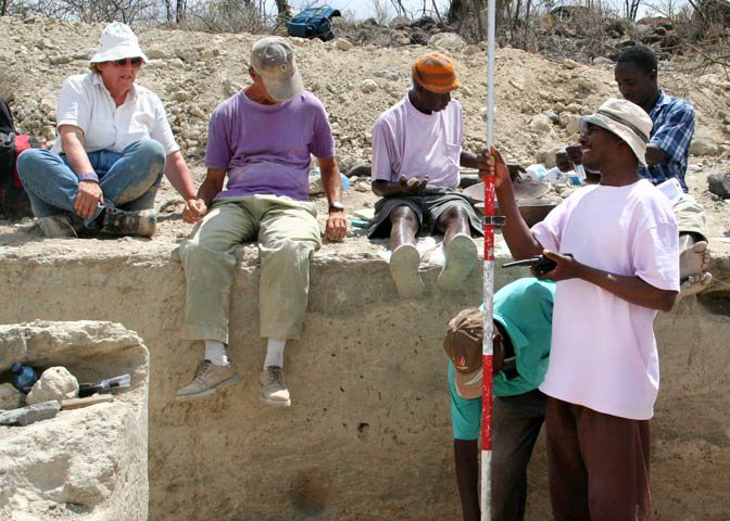 research crew in dig site