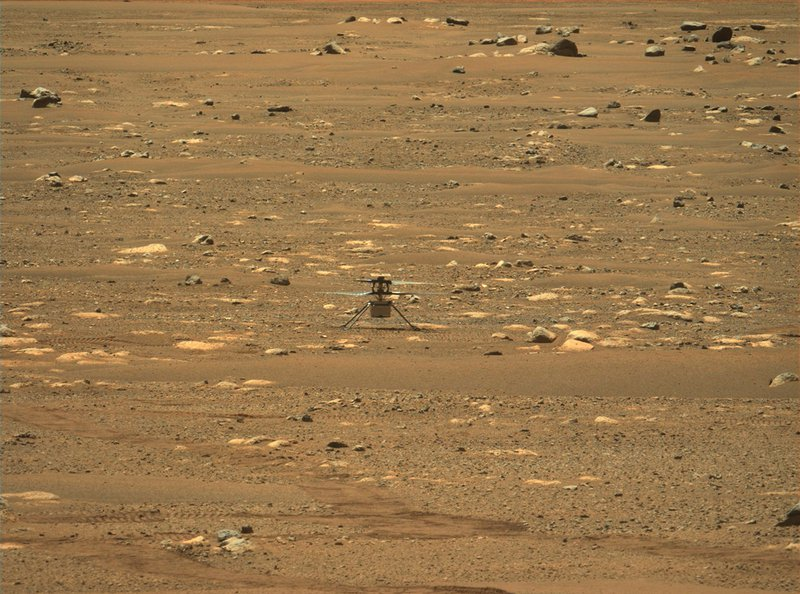 The Ingenuity Mars helicopter, photographed by Perseverance