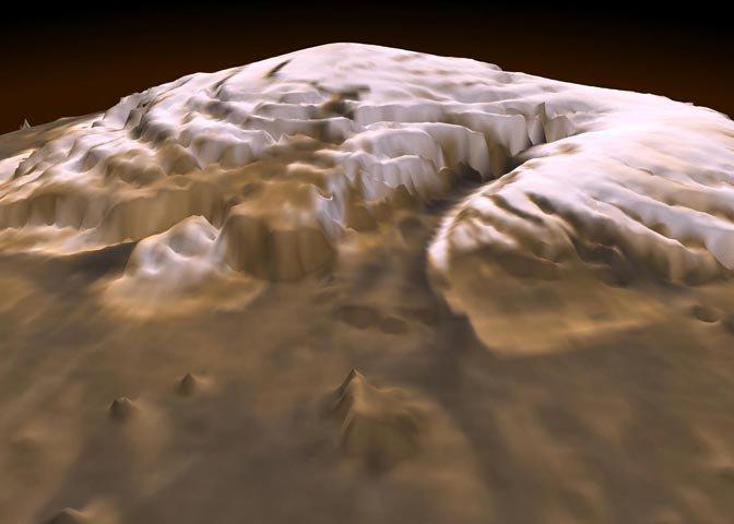 three-dimensional visualization of the martian north pole