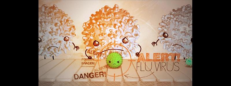 illustration of Immunity cells ganging up on a flu virus
