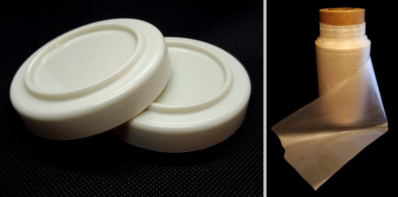 2 plastic caps and roll of plastic film