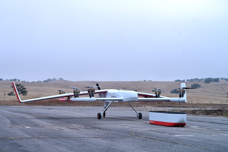unpiloted flying cargo system parked on runway