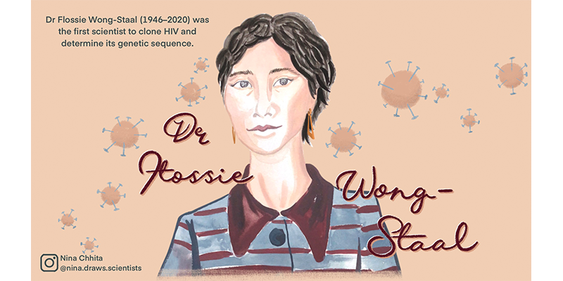 Illustration of Flossie Wong Staal with viruses pictured behind her