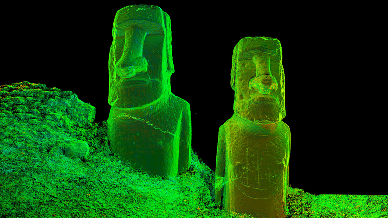Digital model of 2 stone statues