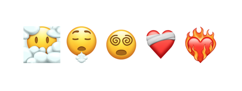 3 new emoji faces and 2 hearts