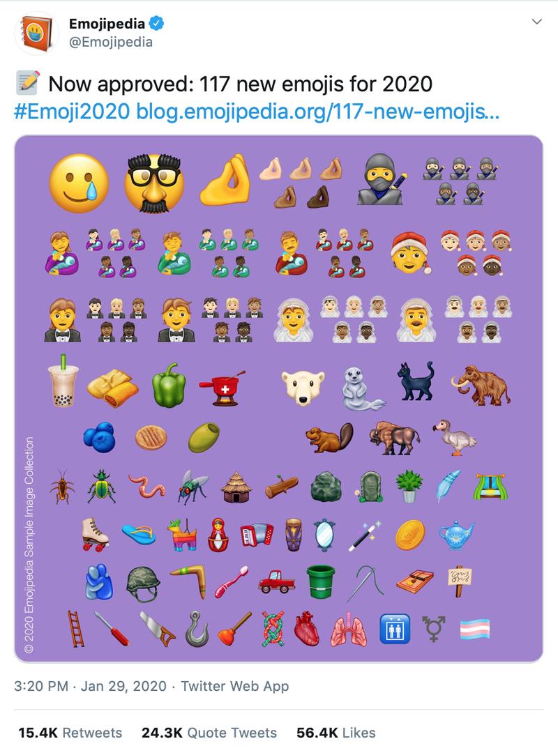 Emojipedia Tweet with image of new emoji