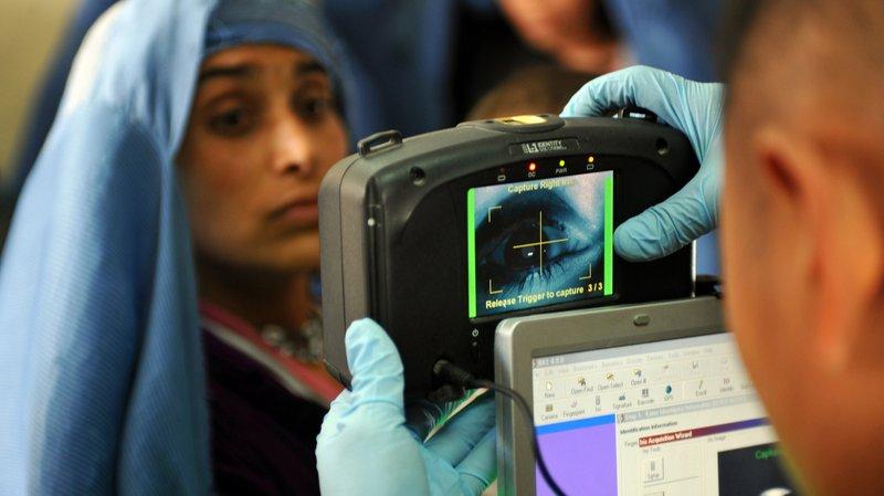 Afghan woman iris scan