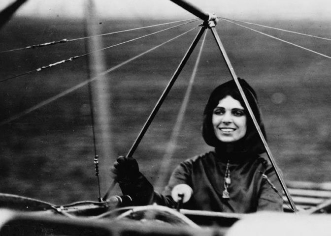 Harriet Quimby in her Blériot XI monoplane