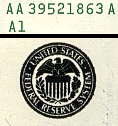 serial number and treasury seal