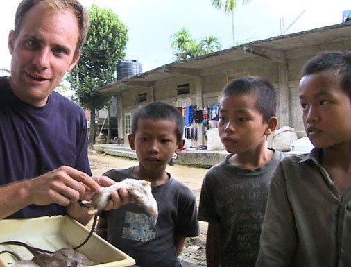 Jeremy Zipple and children with rat