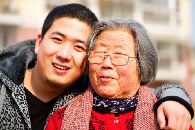 Chinese woman & grandson