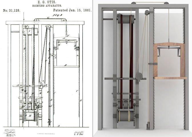 Elisha Otis 1861 elevator