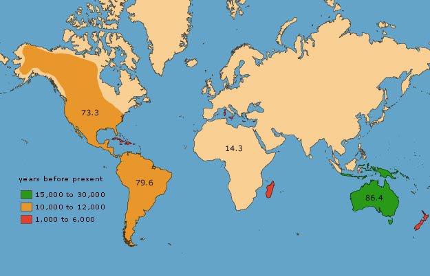 map of animal extinction around the world