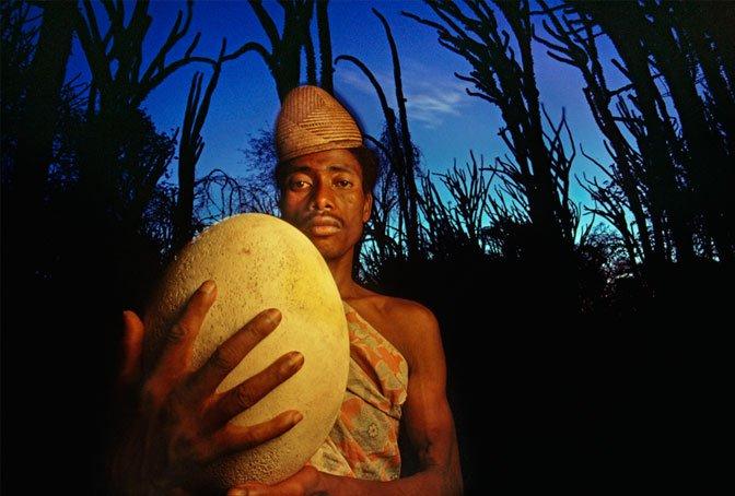 man with elephant-bird egg