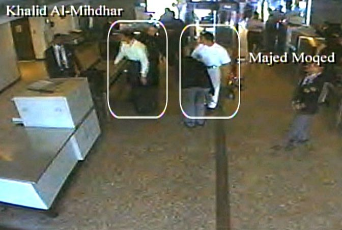 Mihdhar and fellow hijacker Majed Moqed in airport