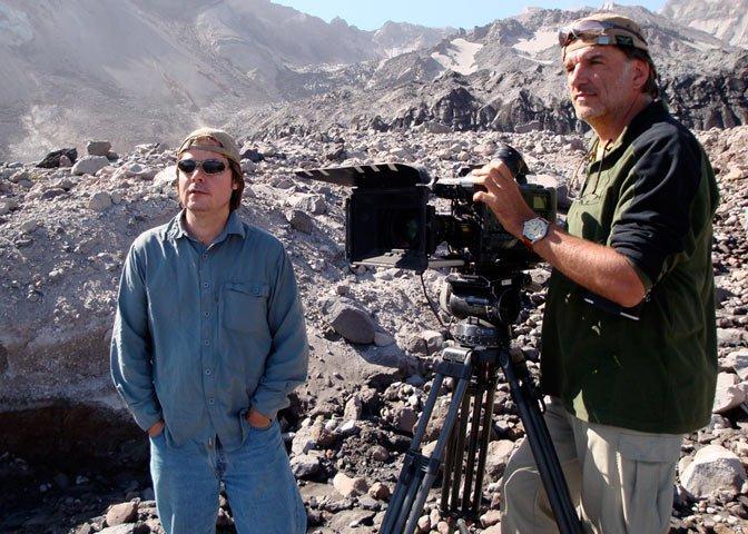Daniel Hissen and camera operator in the field