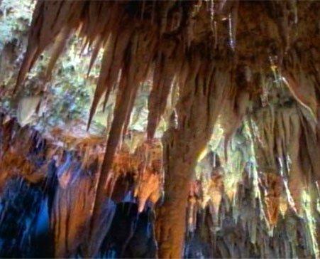 myriad stalactites on ceiling