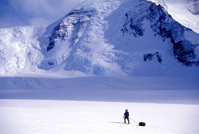 skiing toward mountain