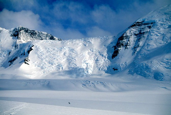 tiny team skis toward massif