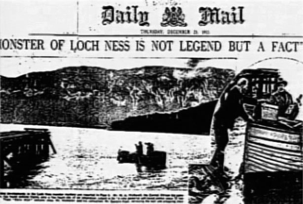 Daily Mail newspaper headline of Loch Ness