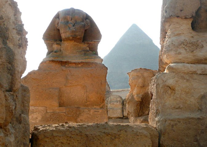 Sphinx with Great Pyramids
